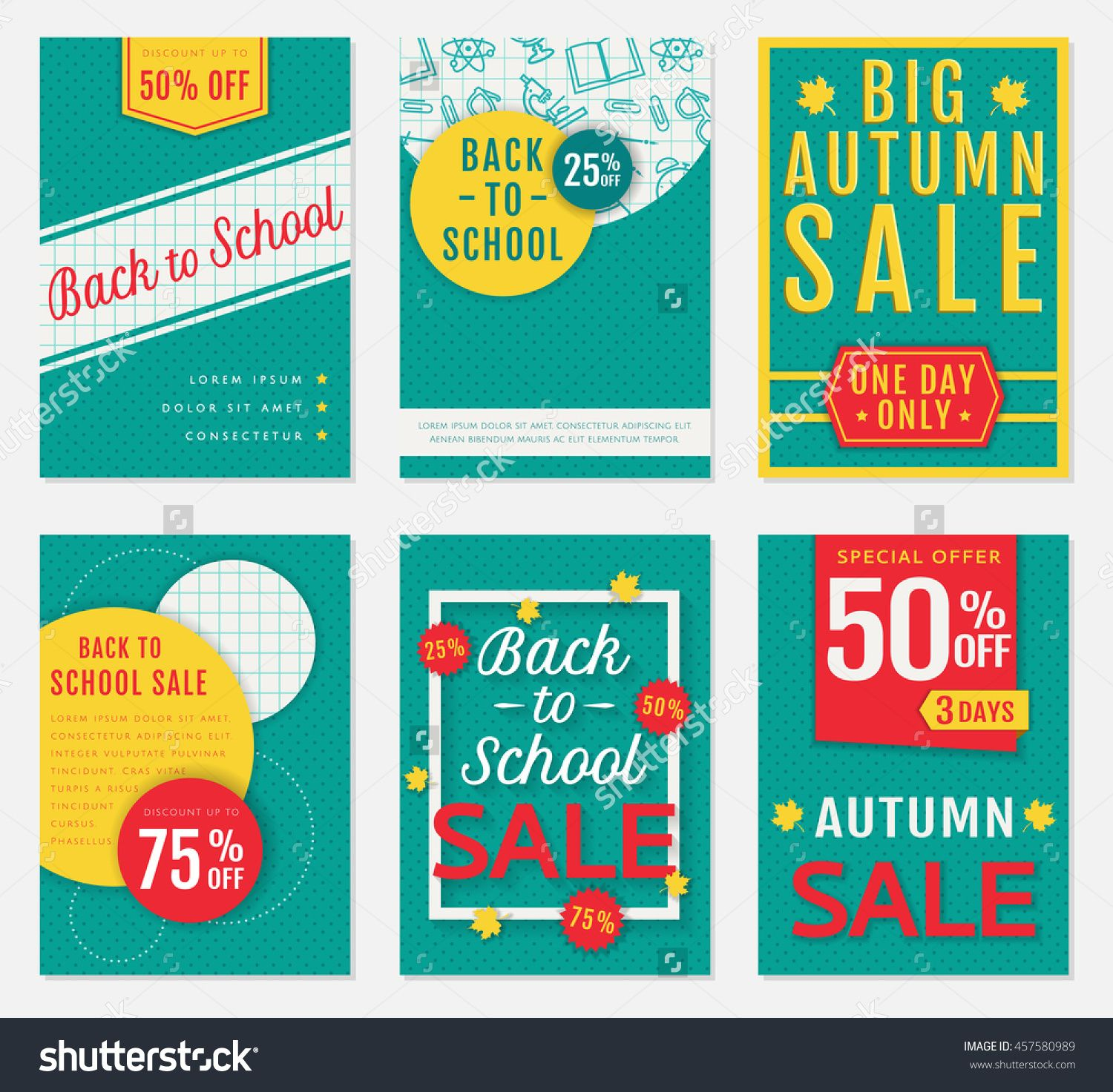 Back To School And Autumn Discount Banners Templates Of