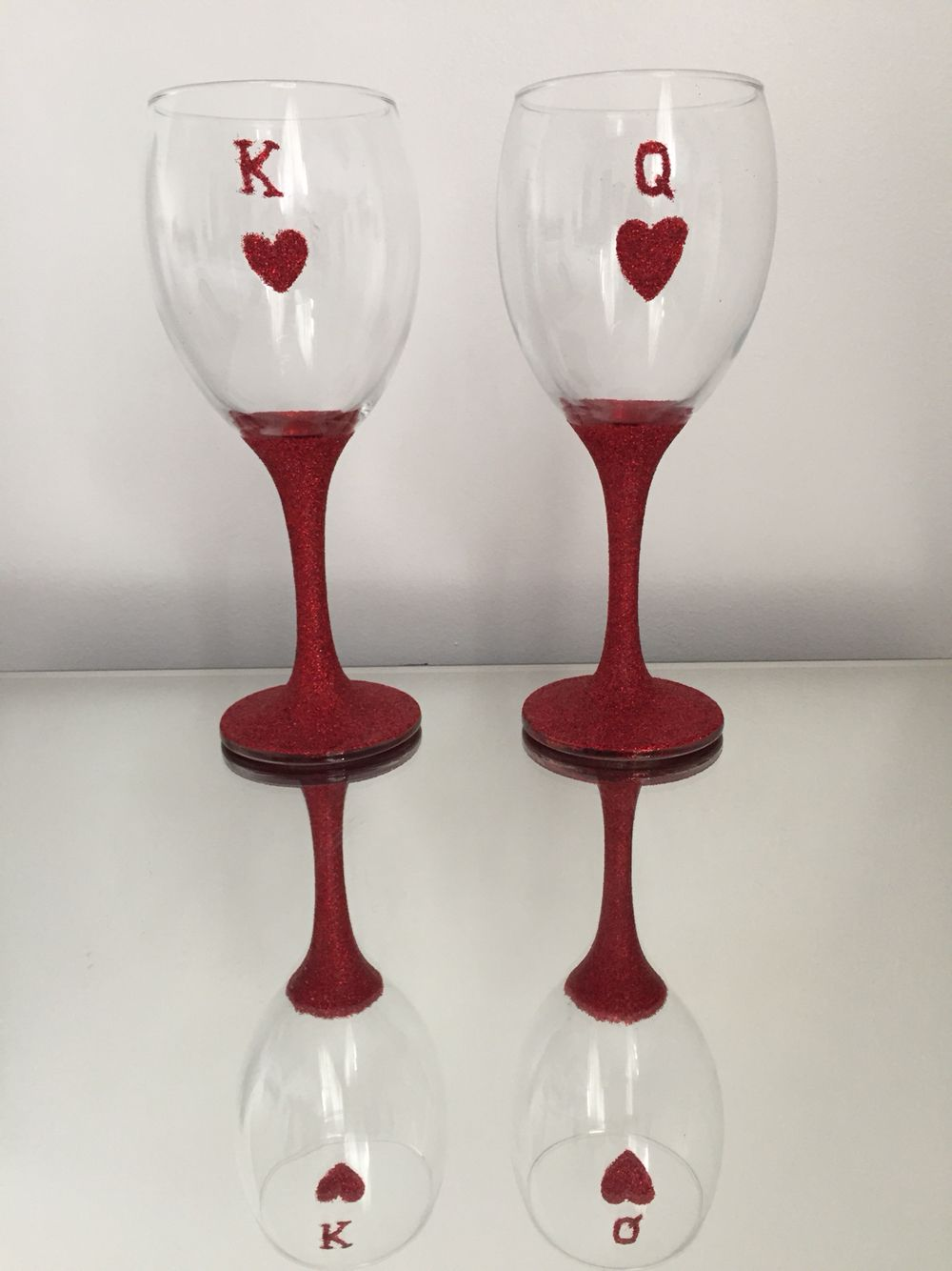 King And Queen Of Hearts Red Glitter Wine Glasses King Queen Glitter Sparkle Wine Heart Glitter Wine Glasses Wine Glass Candle Holder Glitter Wine