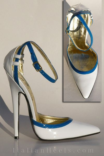 bicolor white and blue patent leather sandal with ankle strap, very high heel 15cm
