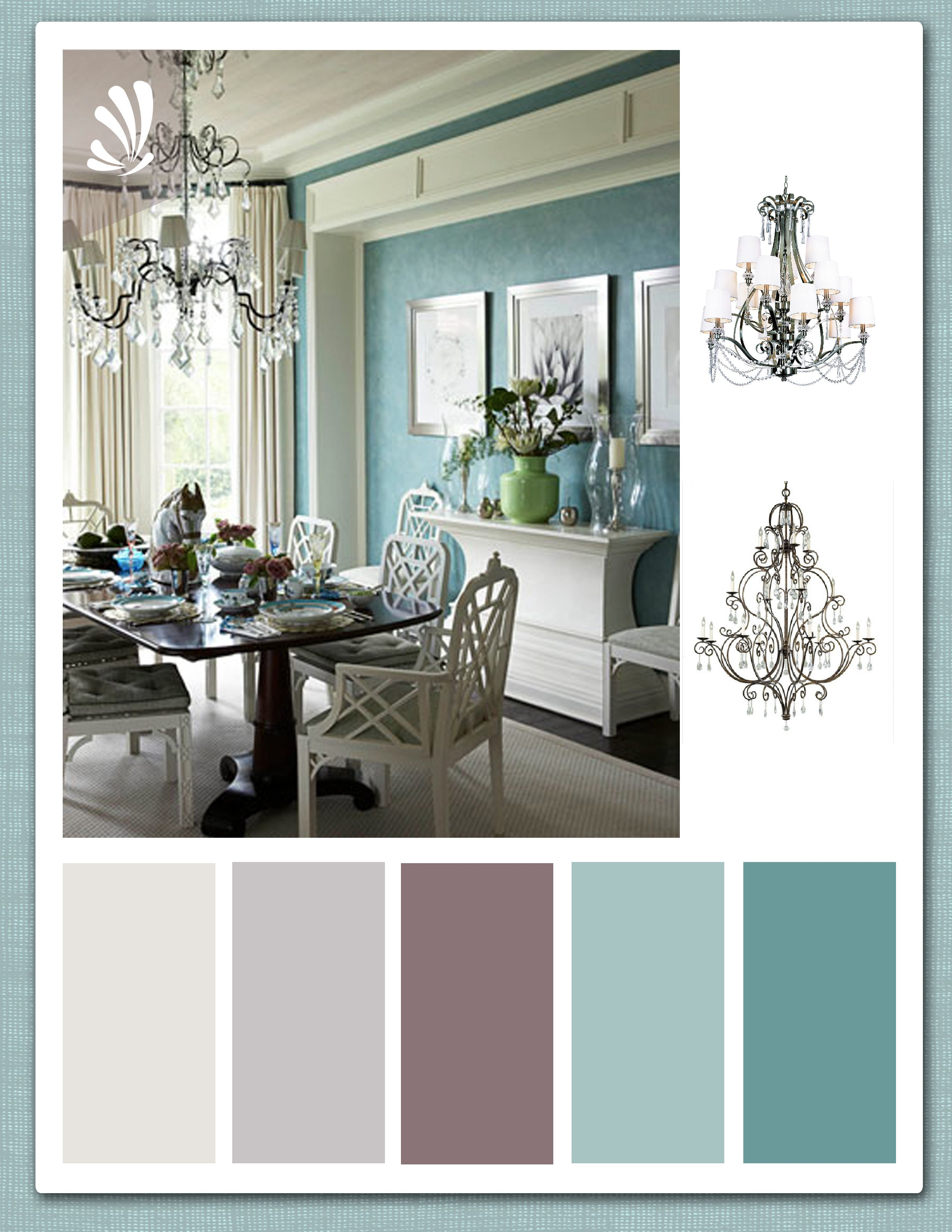 Teal, Plum And Warm Grey Palette First 3colours For Living