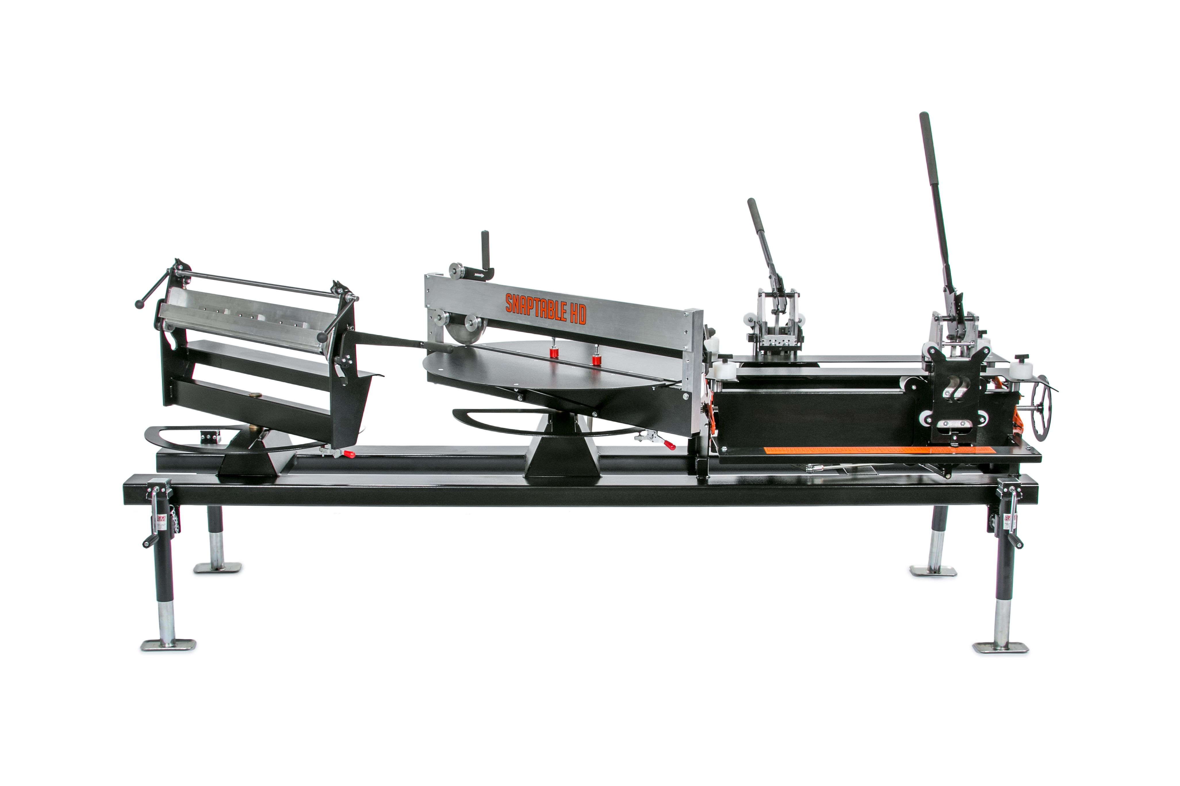SnapTable HD, a table with three stations for notching, shearing, and hemming metal rooofing panels
