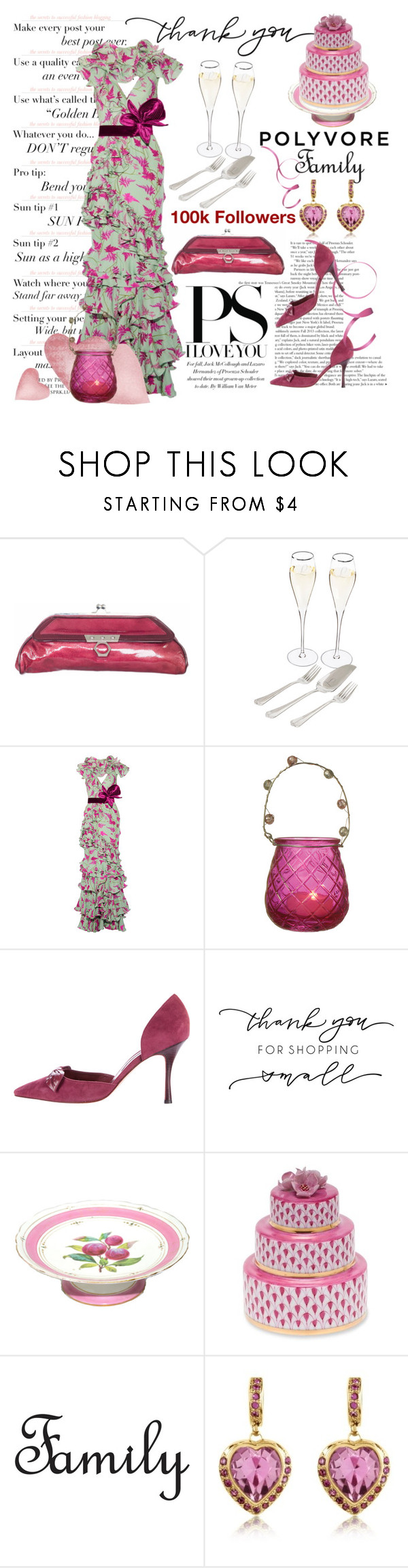 """""""Thank You, Polyvore Family"""" by conch-lady ❤ liked on Polyvore featuring Zac Posen, Cathy's Concepts, Johanna Ortiz, Manolo Blahnik, Herend, AZ Collection and thankyoupolyvorefamily"""