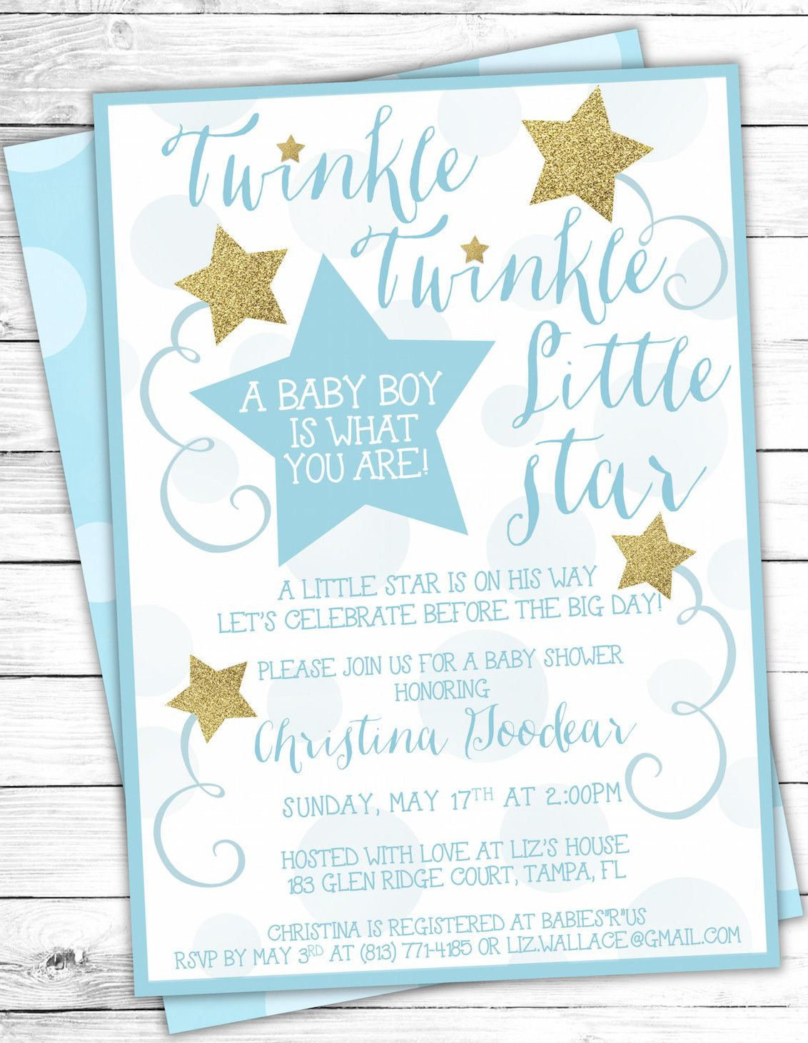 Twinkle twinkle little star party theme planning ideas supplies blue gold twinkle twinkle little star baby shower invites filmwisefo