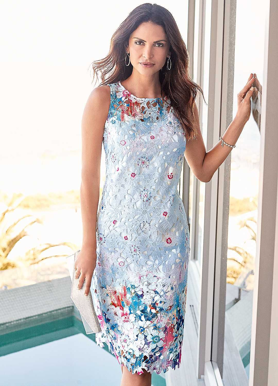 Printed Lace Dress Casual wedding guest dresses