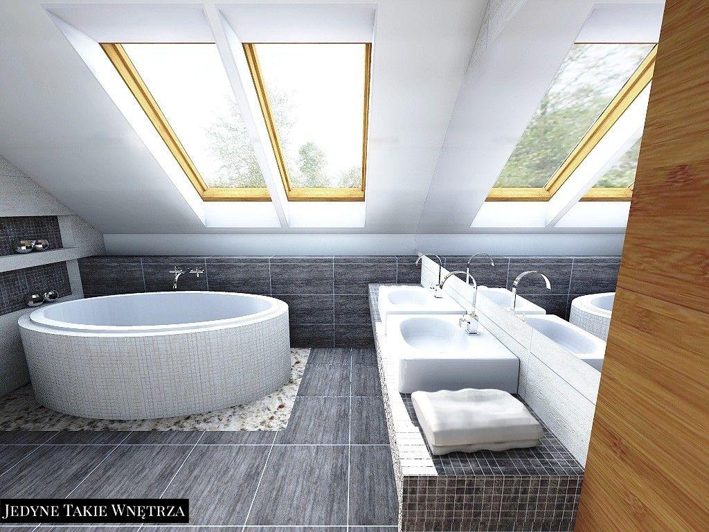 Nowoczesna łazienka Na Poddaszu Sypialnia Z łazienką