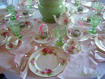 Table Setting for a High Tea.a lovely combination of American Beauty china and green depression water glasses. & Pictures of Tea Table Settings | The table setting is a fine bone ...