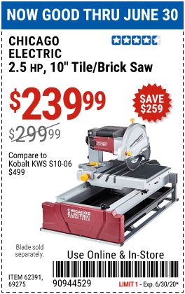 Chicago Electric 2 5 Hp 10 In Tile Brick Saw For 239 99 In 2020 Brick Saw Harbor Freight Tools Water Tub