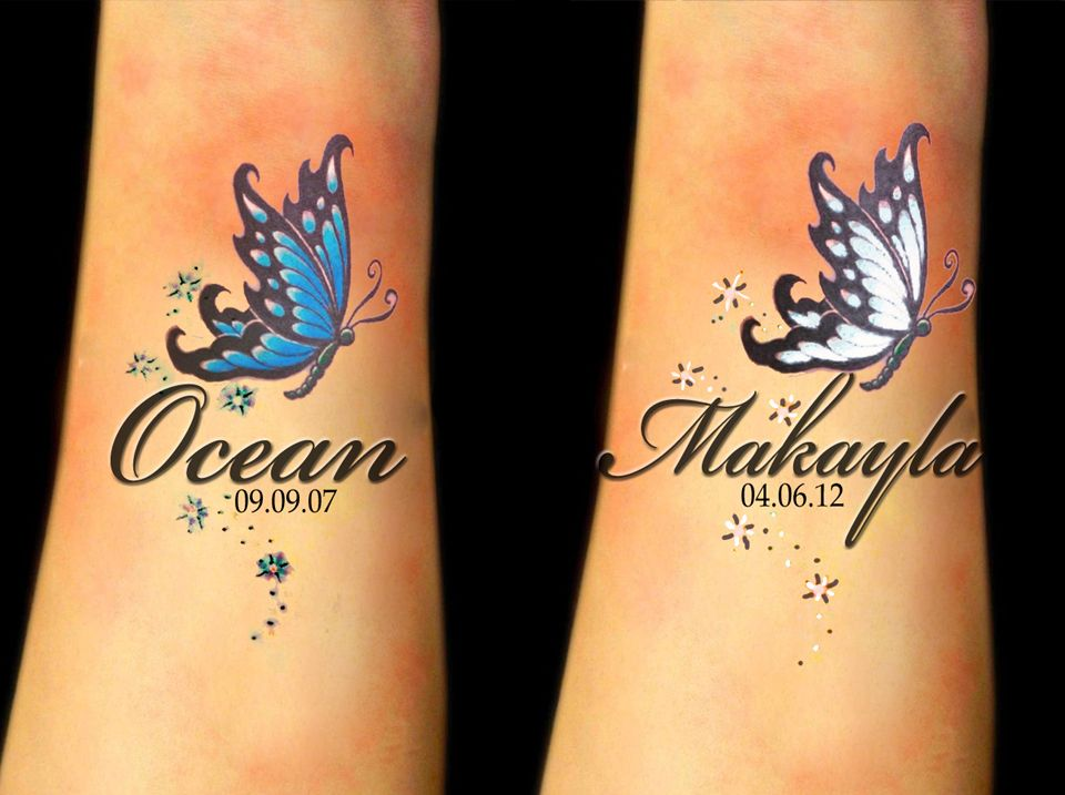 Wrist Tattoo With Girls Names And Birthstone Butterflies