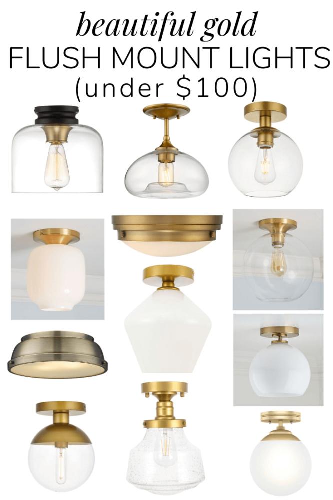 Affordable Gold Flush Mount And Semi Flush Mount Lights Under 100