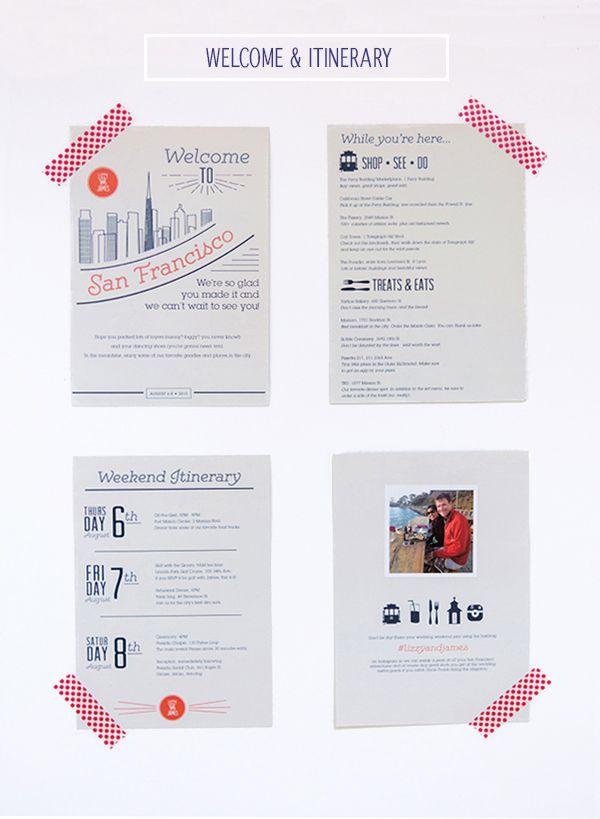 Wedding Gift Bags San Francisco : Wedding Itinerary on Pinterest Wedding Welcome Letters, Wedding ...