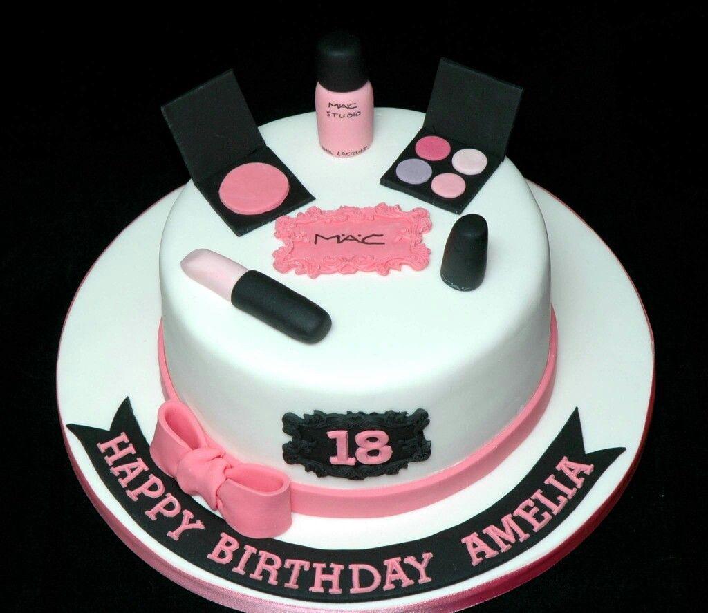 An 18th Birthday MAC Makeup Cake With Lipstick, Nail