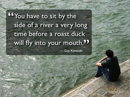 You have to sit by the side of a river a very long time before a roast duck will fly into your mouth - Guy Kawasaki