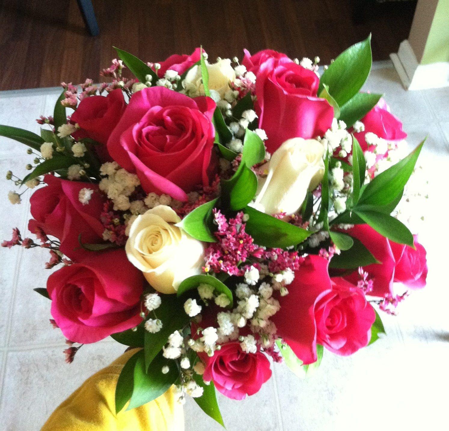 Hot pink wedding bouquet | wedding flowers | Pinterest