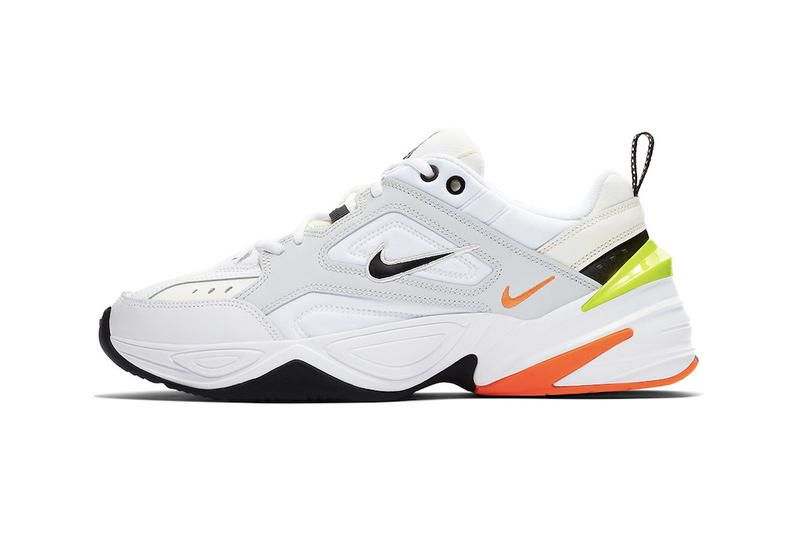 more photos f3ff7 c0c6a Nike M2K Tekno Pure Platinum Volt Orange Neon Chunky Sneakers