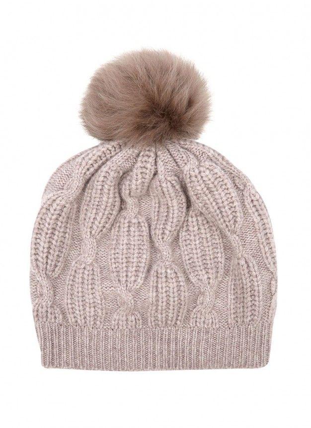 9ee361ab881da1 Cashmere & Sheepskin Pom Pom Beanie - Brora Cashmere Accessories ...