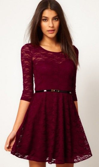 Cute Cheap Lace stitching slim long sleeved dress with belt red - Long-Sleeve Online Shopping Free Shipping 1218335457