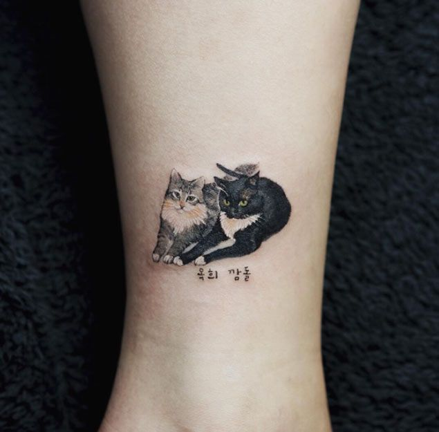 small cats tattoo by sol art cattattoo cat tattoo. Black Bedroom Furniture Sets. Home Design Ideas