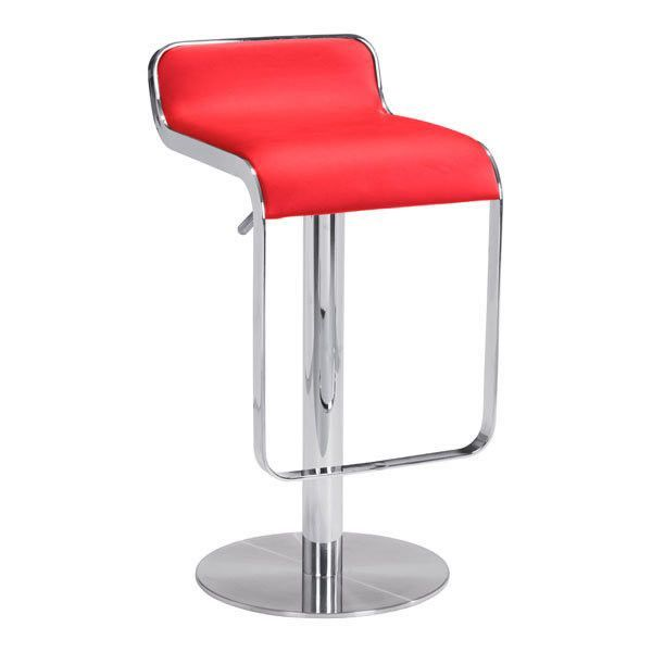 Equino Stool Red. With its slight lip back and flat seat, the Equino is comfortable and stylish. Featuring a washable leatherette seat, chrome plated steel frame, stainless steel base, and adjustable lift from counter to bar.Case Pack: 1Material: Leatherette, Chromed StaiNumber Of Cartons: 1Total Carton Weight ( lbs. ): 38Total Carton  Length ( in. ): 22Total Carton Depth ( in. ): 20Total Carton  Height ( in. ): 17