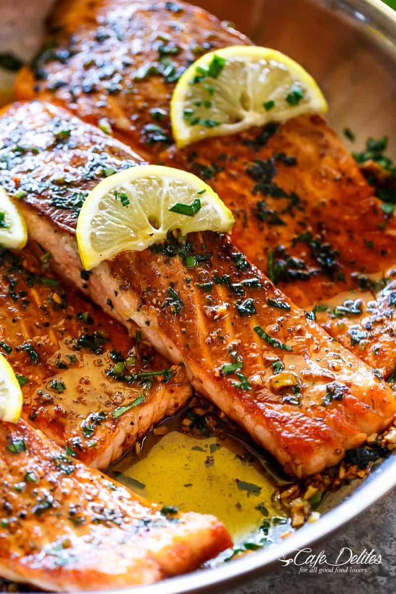 Pan Seared Salmon with Lemon Garlic Butter Sauce #salmonrecipes