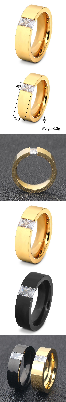 Tyme Gold Color Titanium Steel Men Ring Black Stainless Steel ...