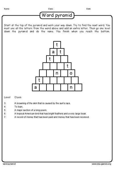 Solid Geometric Shapes Worksheets Create Your Own Word Pyramid Puzzles Or Select A Puzzle And  Number Ordering Worksheets Excel with Counting Money Worksheets For 3rd Grade Pdf Create Your Own Word Pyramid Puzzles Or Select A Puzzle And Download The  Free Pdf Worksheet American Flag Worksheets Pdf