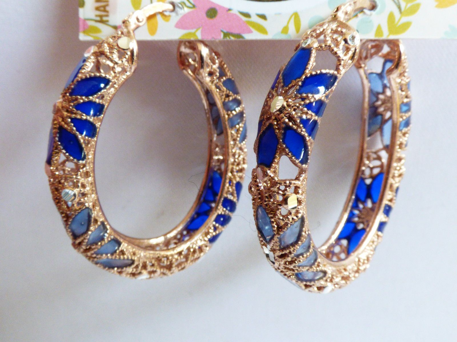 Mia Fiore Rose Gold on Sterling Silver 925 Filigree Blue Floral hoop