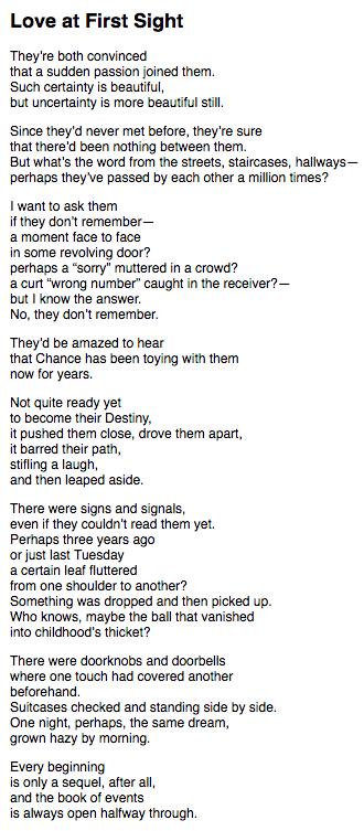 Love At First Sight Wislawa Szymborska Poems Beautiful Words Poem Quotes