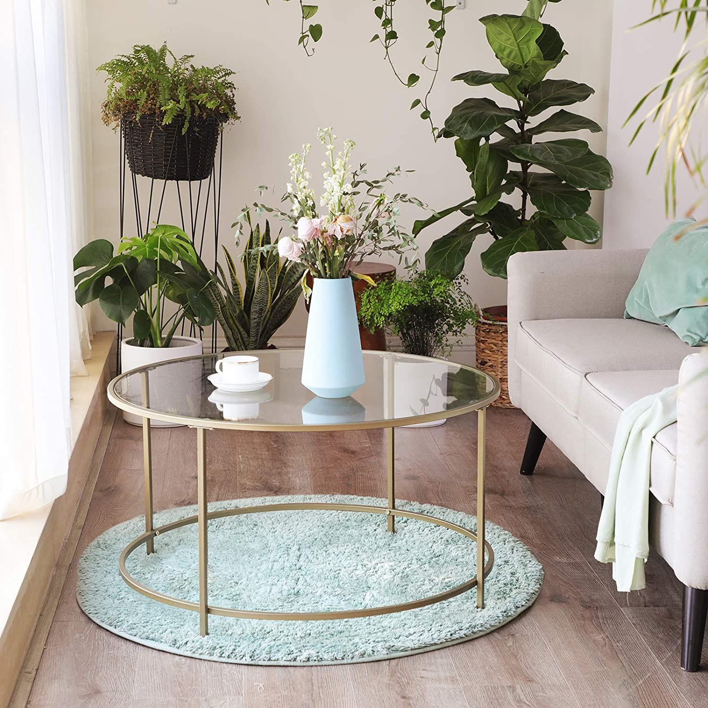 Vasagle Table Basse Ronde Plateau En Verre Trempe Armature Metallique Doree Table De Salon Bout In 2020 Living Room Table Round Coffee Table Coffee Table