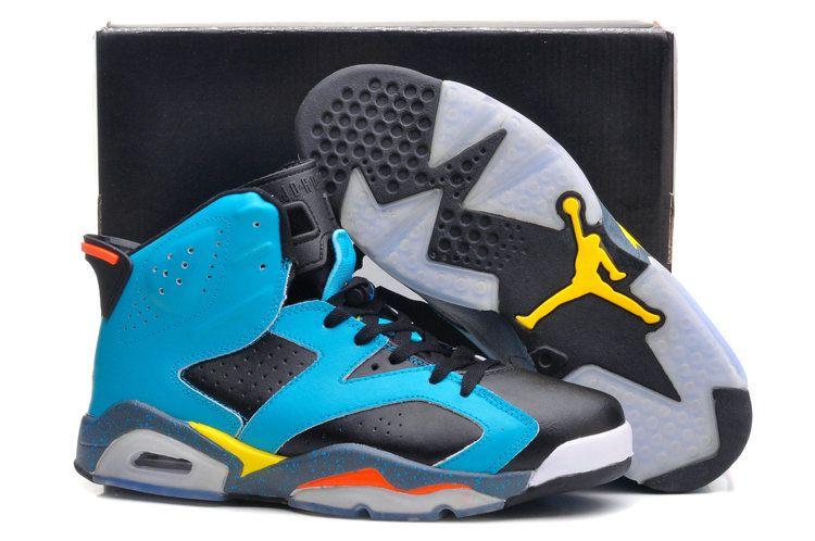 size 40 c1ff5 4179f Cheapest and Newest Air Jordan 6 Sport Blue Black Yellow Grey Bluemine