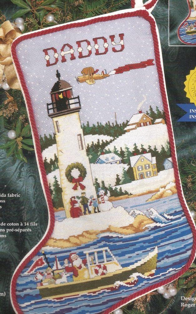 Janlynn CHRISTMAS LIGHTHOUSE STOCKING Santa, ocean, fishing boat 11 ...