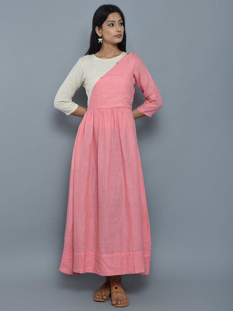 Pink off white cotton long dress the loom western wear pinterest