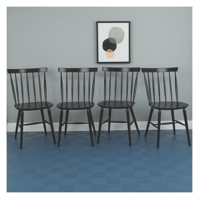 Talia Set Of 4 Black Spindle Back Dining Chairs Dining Chairs
