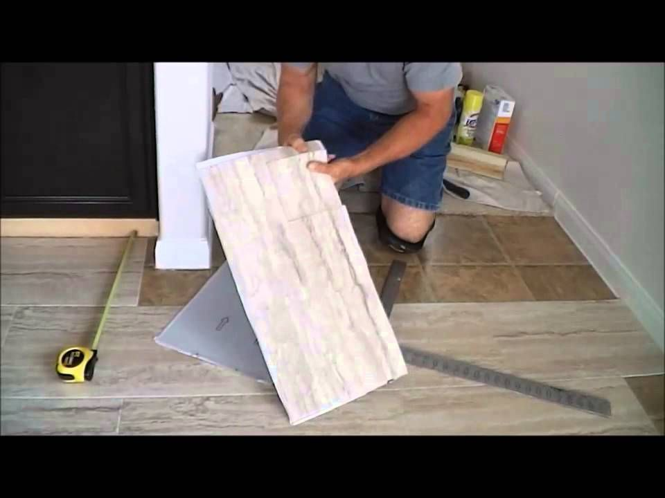 Trafficmaster Ceramica 12 X 24 Vinyl Tile Floor Installation Youtube With Images Diy Painted Floors Vinyl Tile Flooring Diy Flooring