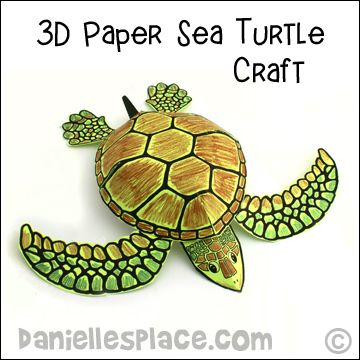 Sea turtle craft 3d paper sea turtle craft from www for Turtle arts and crafts