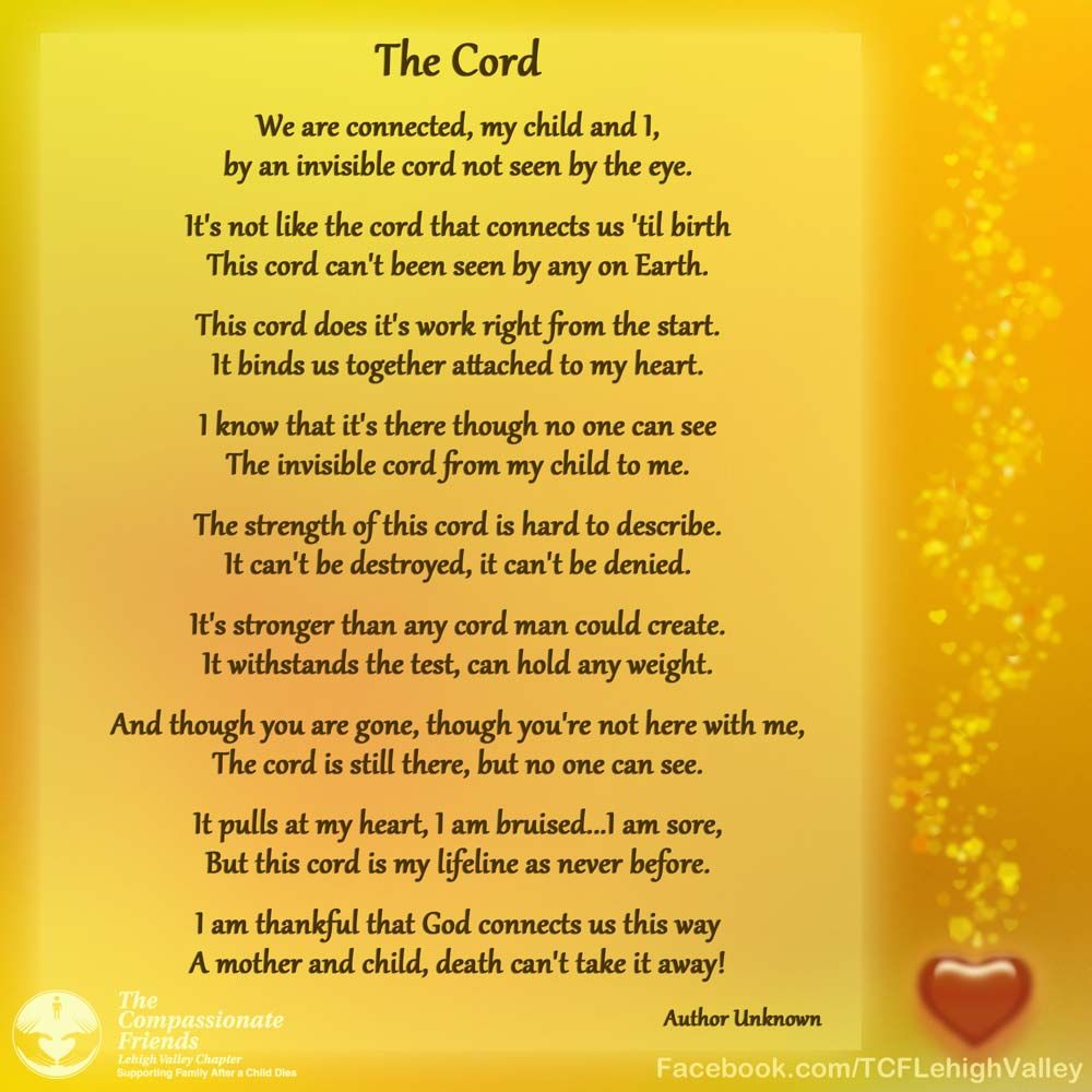 Losing My Mom To Cancer Quotes: The Cord Poem Mothers Grief Over The Loss Of A Child Www
