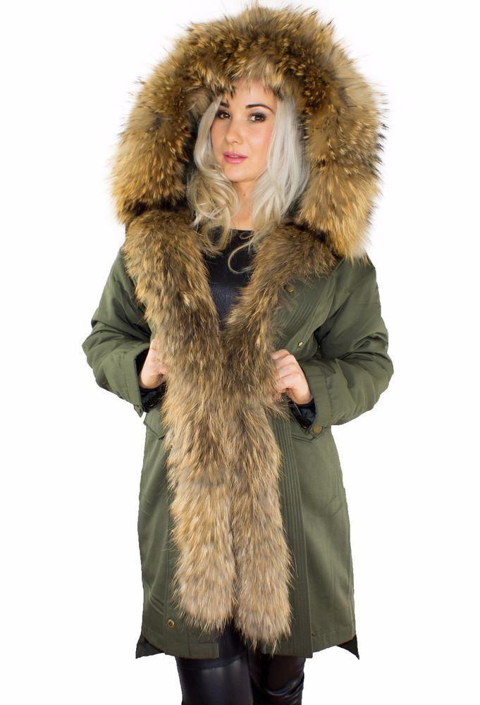 Mantel Winter Damen Finnraccoon Pelzkragen Jacke Parka Xxl Nk0POnw8X