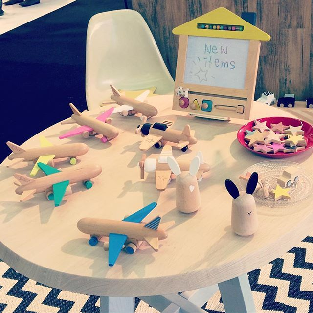 新商品 hikoki(jet / propeller) and usagi♡ Parisでも大人気です☆ 10月発売予定です^^ #okiagarikoboshi #rabbit #hikoki #airplane #rattle #woodentoys