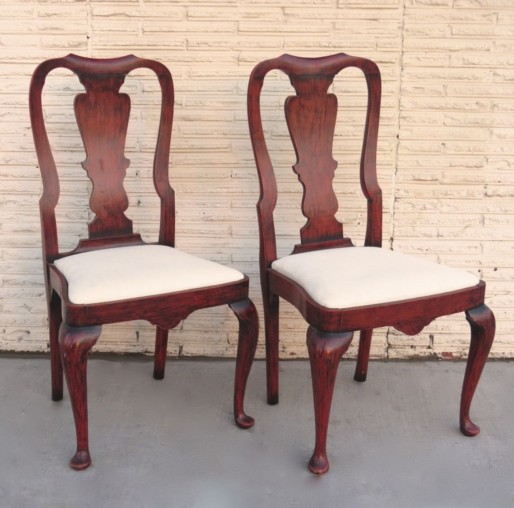 Perfect Pair Of Queen Anne Style Chairs With Red Paint