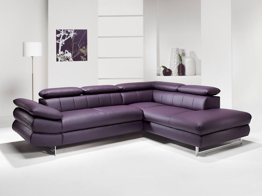 canap d 39 angle en pu et tissu violet esteban 7 canap d 39 angles convertibles canap s d 39 angle. Black Bedroom Furniture Sets. Home Design Ideas