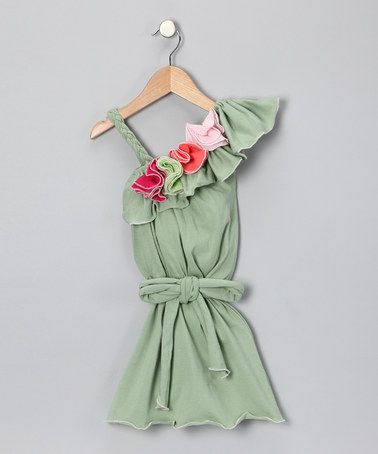 Take a look at this Dusty Green Organic Asymmetrical Dress - Toddler & Girls by Orangia Blossom on #zulily today!