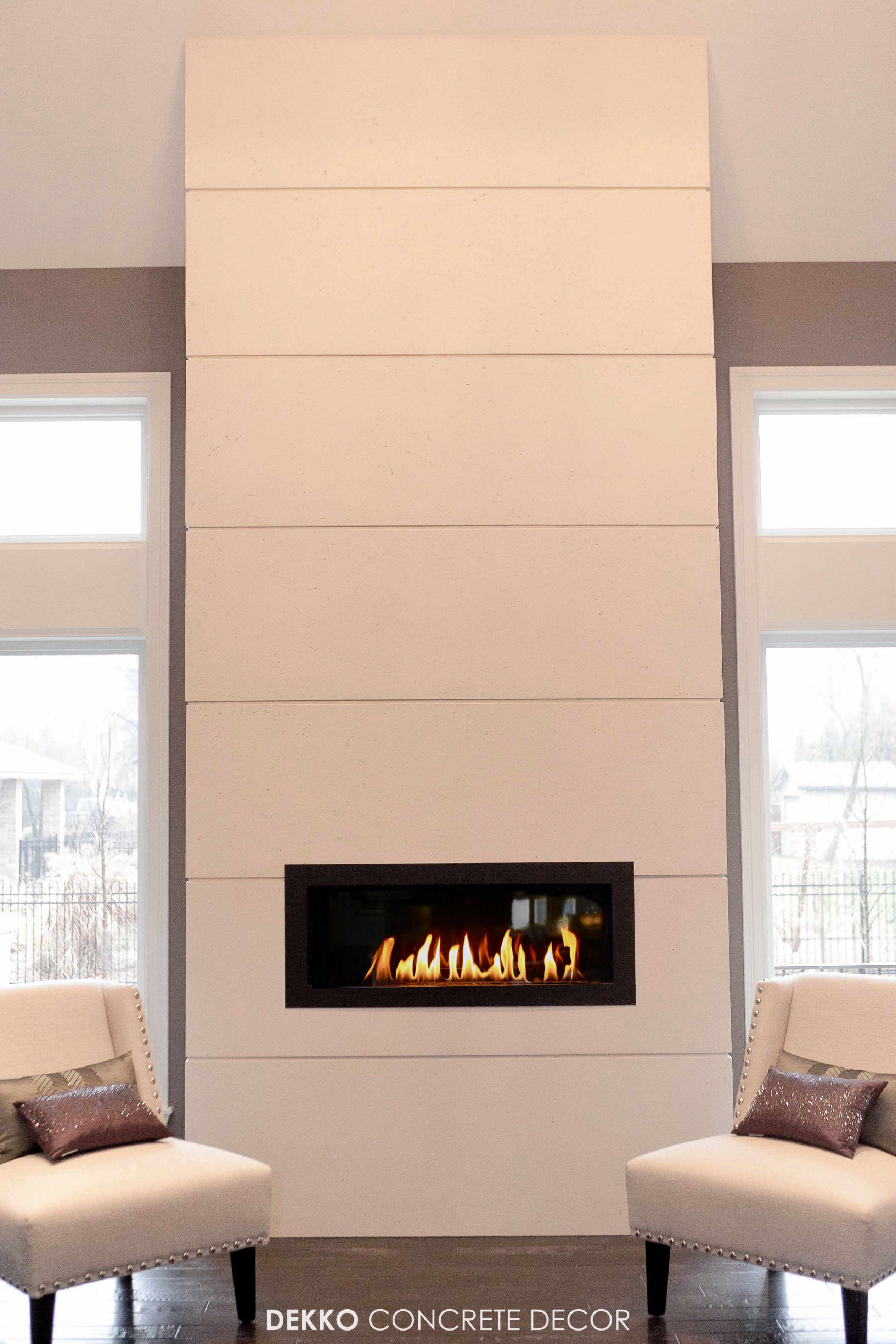Engineered Concrete Panels Around A Gas Fireplace Home Fireplace