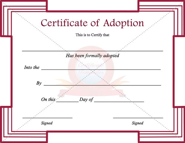 Adoption Certificate Template  Adoption Certificate Templates