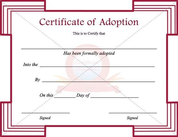 Adoption Certificate Template | ADOPTION CERTIFICATE TEMPLATES ...