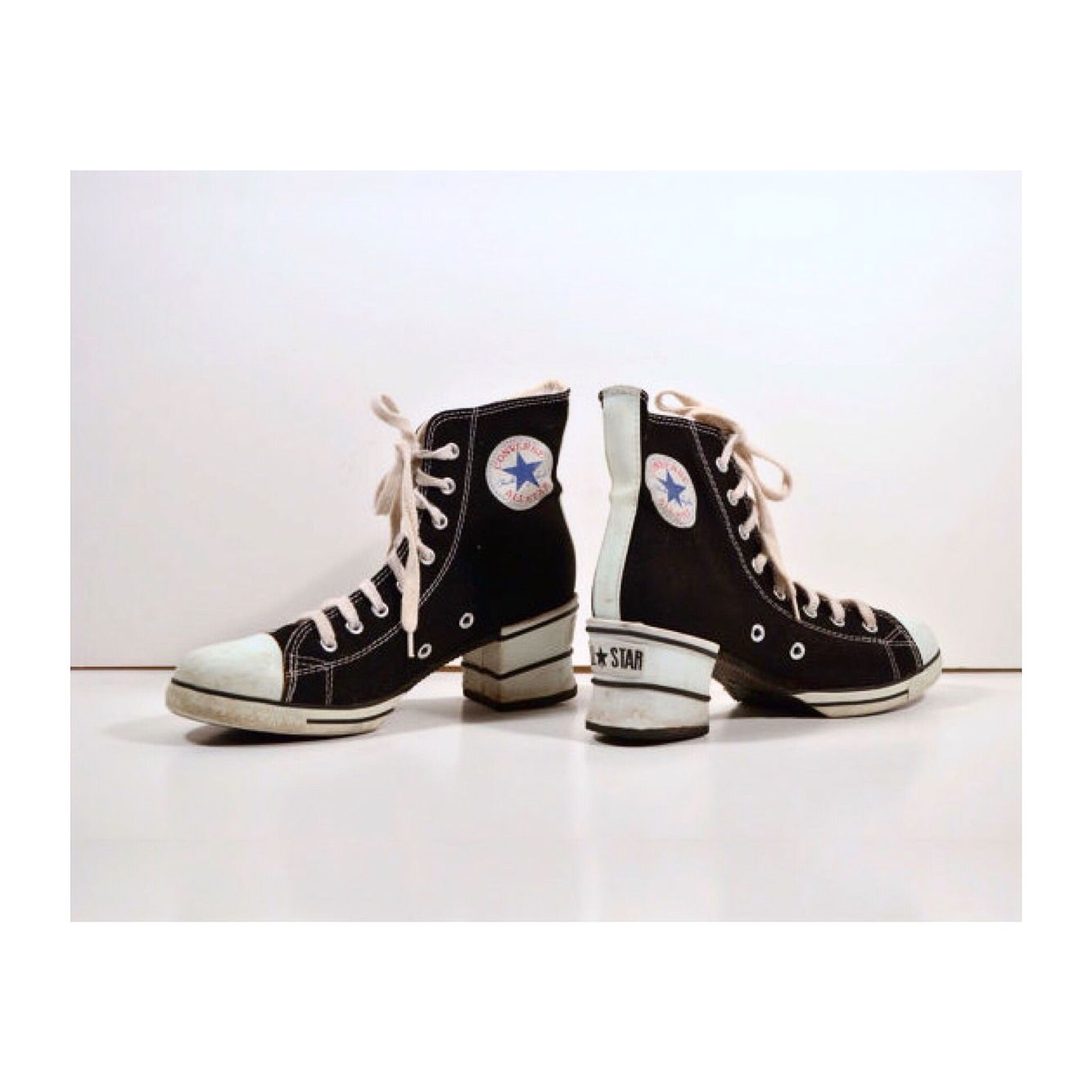 335e06ebc04 Vintage 90s CONVERSE Women s All Stars Chuck Taylor High Tops PLATFORM  Black…