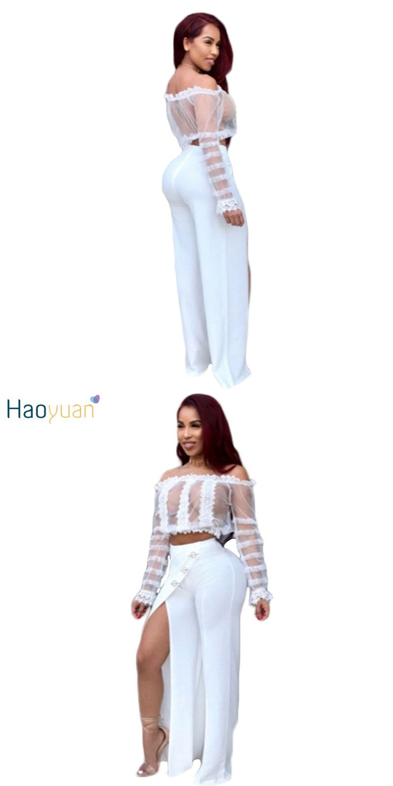 7dcb1c3a5646 HAOYUAN Sexy Two Piece Set Women 2018 See Through Mesh Lace Crop Tops And  Split Wide Leg Pants Suit White Costume Matching Sets