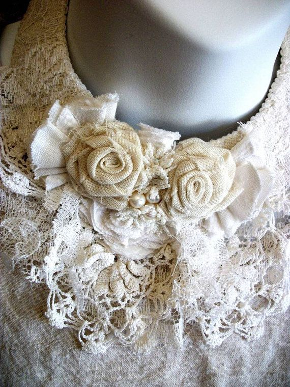 IVORY ROSE Fiber Necklace - Jewelry by Cindy Caraway