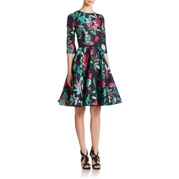 Oscar de la Renta Floral Fil Coupe Dress ($3,890) ❤ liked on Polyvore featuring dresses, apparel & accessories, skater skirt, circle skirt, embellished dresses, flared skater skirt и oscar de la renta dresses