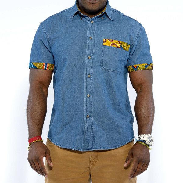 Men's Denim Shirt with African Print Trim (Multipattern)