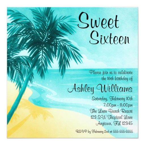 Shopping Tropical Beach Sweet 16 Birthday Party Invitations In Each Seller