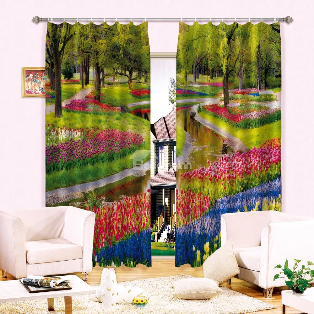 Light Shading Gorgeous Sea Of Flowers Printing 3D Curtain